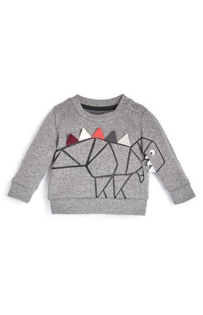 Pull gris à motif dinosaure bébé garçon