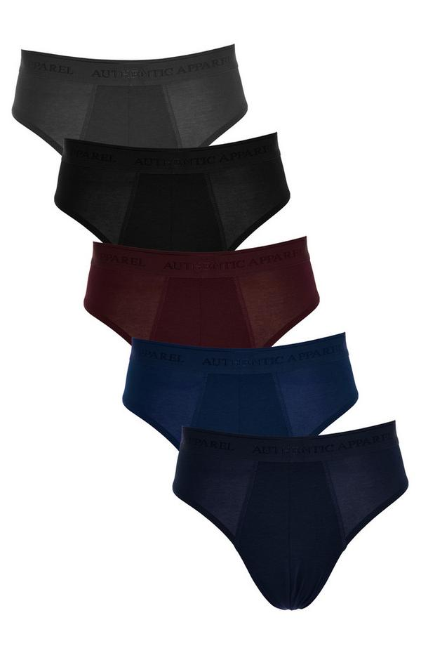 Dunkelfarbige Modal-Slips, 5er-Pack