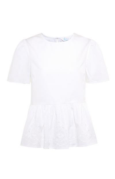 White Cotton Embroidered Peplum Top