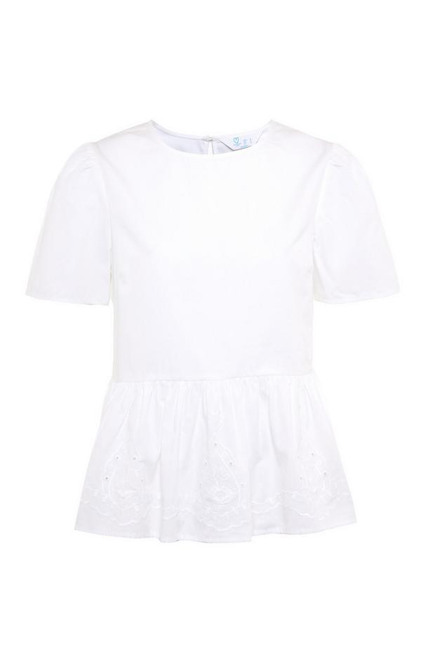 White Cotton Embroidered Peplum Top