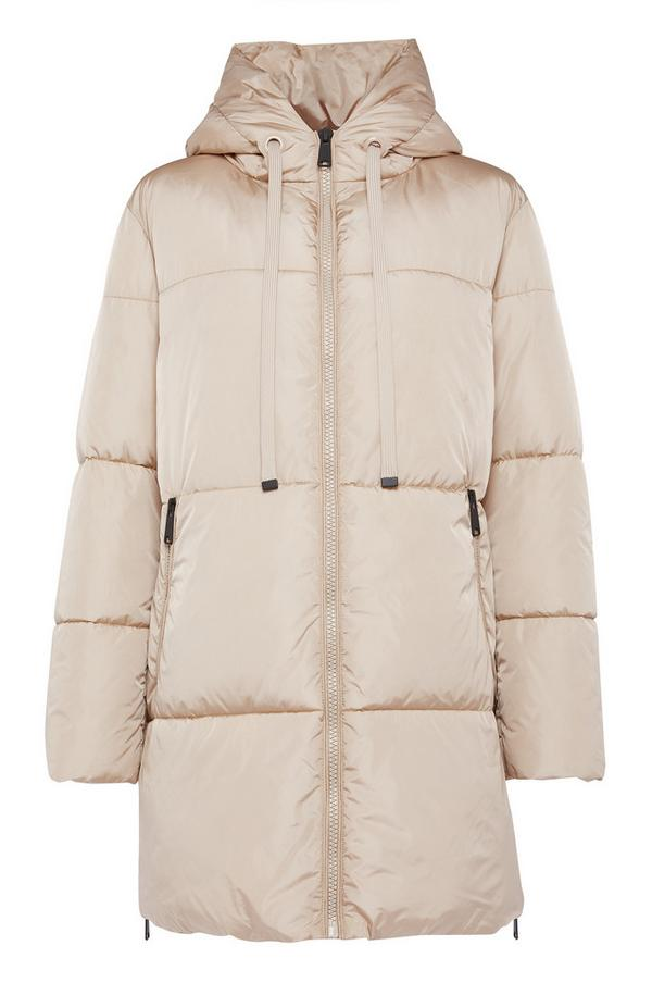Cream Padded Longline Puffer Jacket