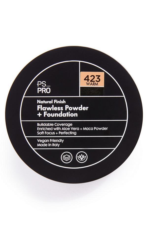 Base y polvos de acabado natural impecable en tono 423 Warm de PS Pro