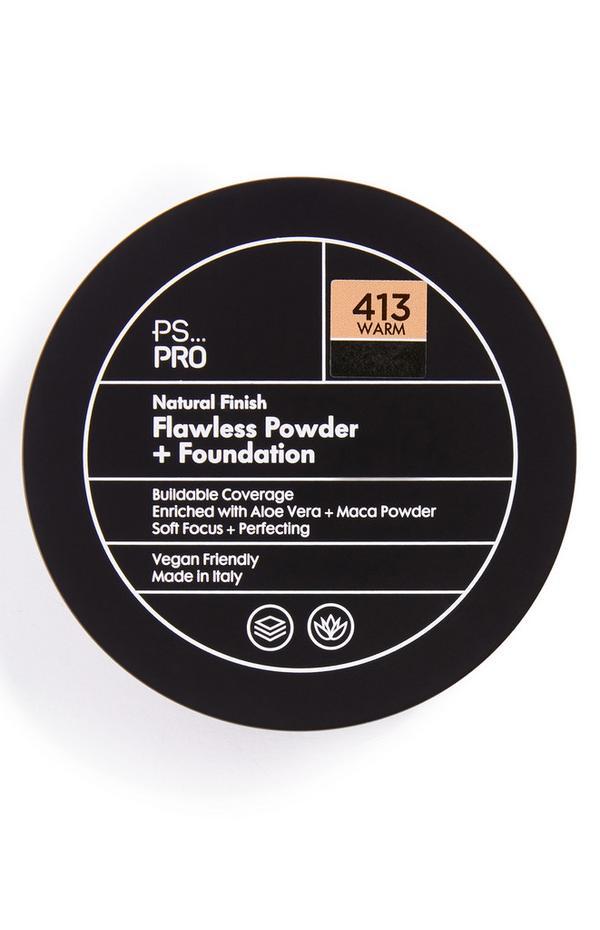 Base y polvos de acabado natural impecable en tono 413 Warm de PS Pro