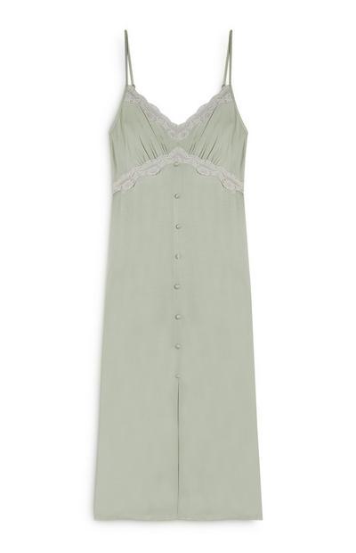 Mint Satin Lace Trim Slip Dress