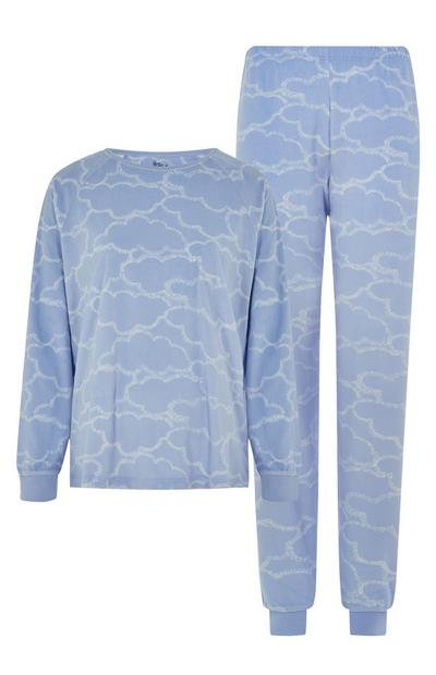 Blue Cloud Print Pajama Set
