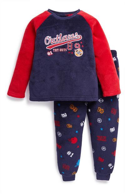 Young Boy Navy Varsity Pyjama Set