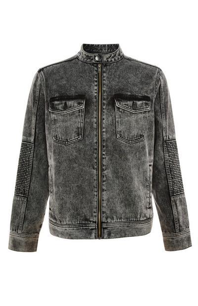 Faded Black Denim Biker Jacket