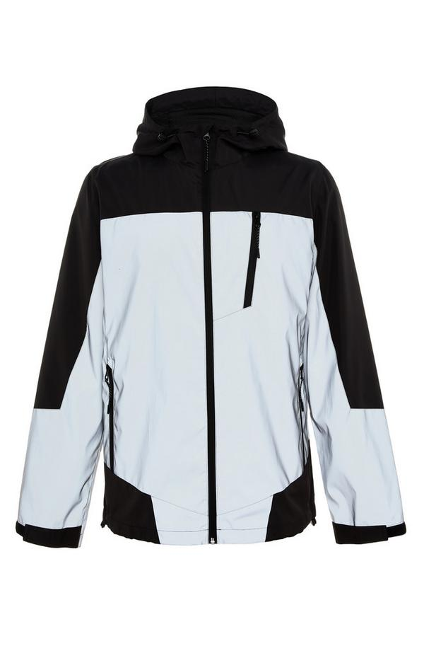 Črno-bela odsevna jakna z zadrgo in barvnimi bloki