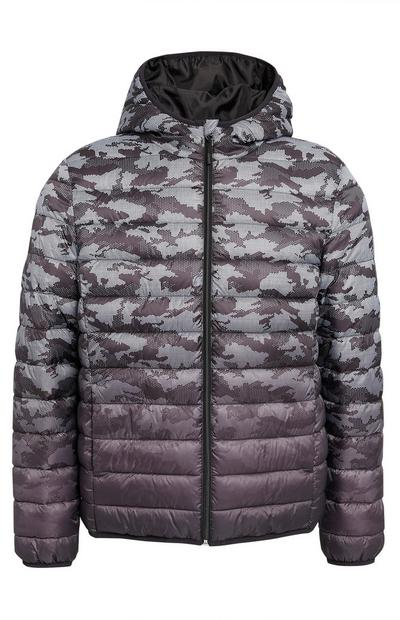 Faded Grey Camouflage Puffer Jacket
