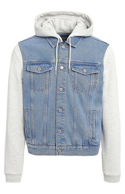 Grey Jersey Sleeve Denim Hoodie Jacket