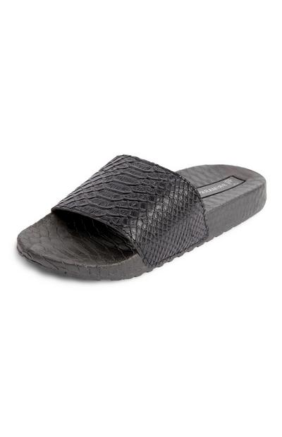 Black Snake Print Embossed Sliders