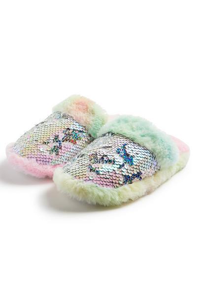 Older Girl Multicolour Flip Sequin Mule Slippers