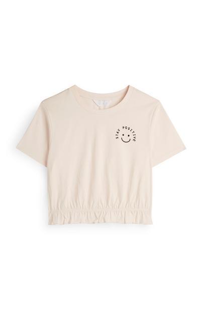 Camiseta rosa palo con eslogan «Stay Positive»