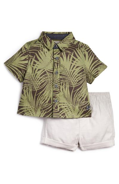 Baby Boy Leaf Print Shirt And Shorts Set