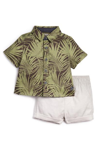 Baby-overhemd met bladerprint en babyshort, jongens