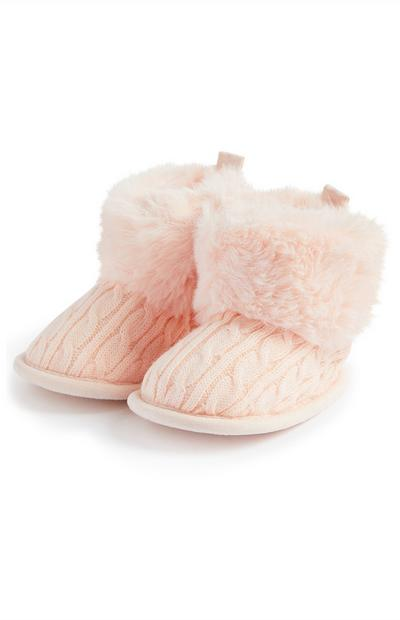 Baby Girl Pink Knit Snug Booties