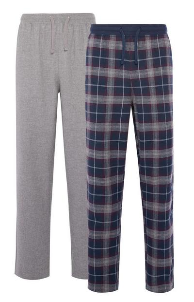 Grey and Check Brushed Pyjama Trousers 2 Pack