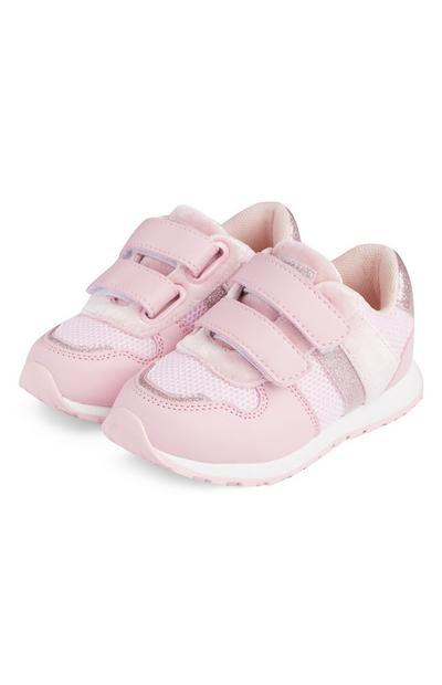 Rožnati dekliški retro športni copati za dojenčke