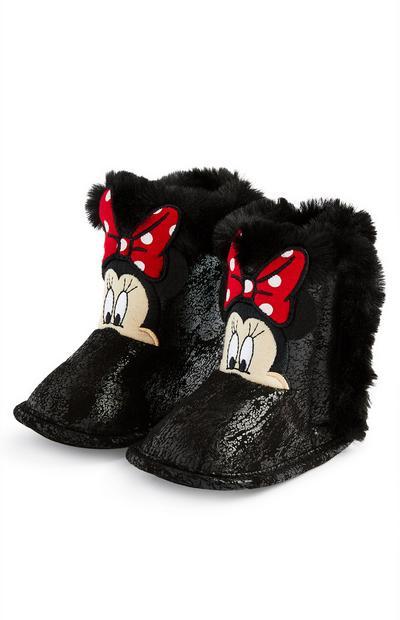 Bottines noires confortables Minnie Mouse bébé fille