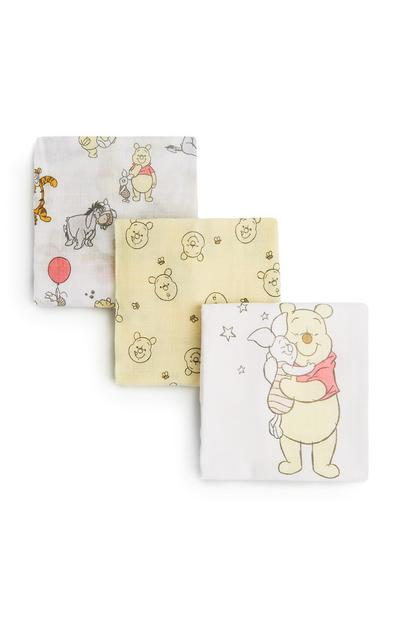 Yellow And White Winnie The Pooh Muslins 3Pk