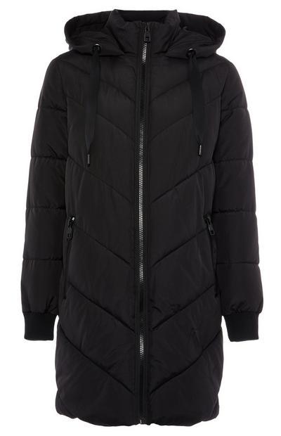 Casaco acolchoado padrão chevron comprimento médio preto