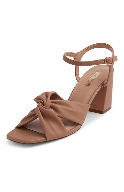 Brown Ruched Vamp Sandals