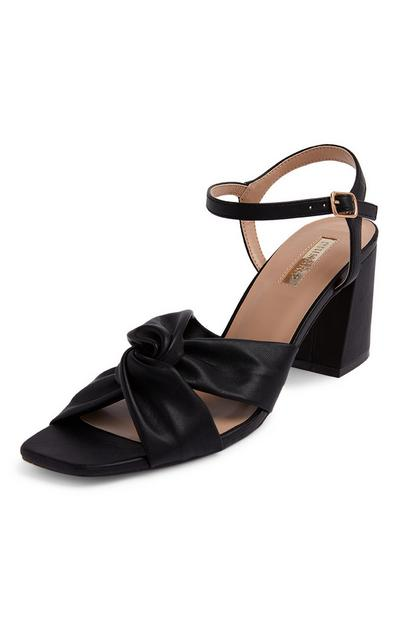 Black Ruched Vamp Sandals