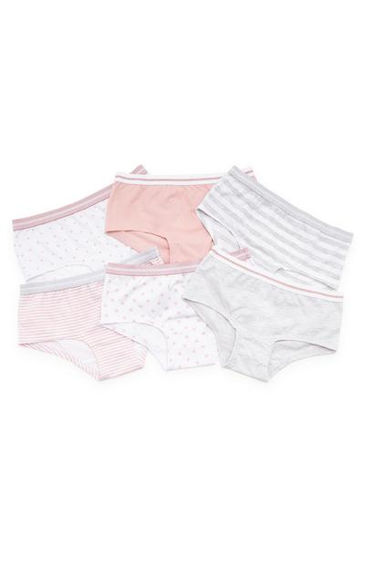 Girls Pink And Grey Short Briefs 6 Pack