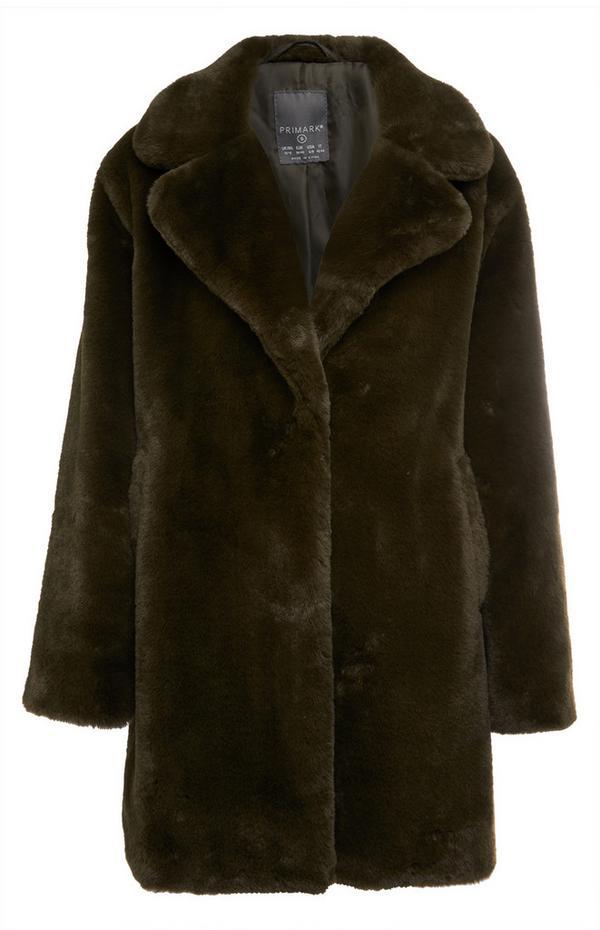 Manteau noir rembourré à capuche en fausse fourrure