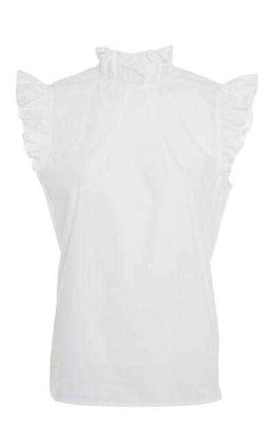 White Poplin High Neck Frill Sleeve Blouse