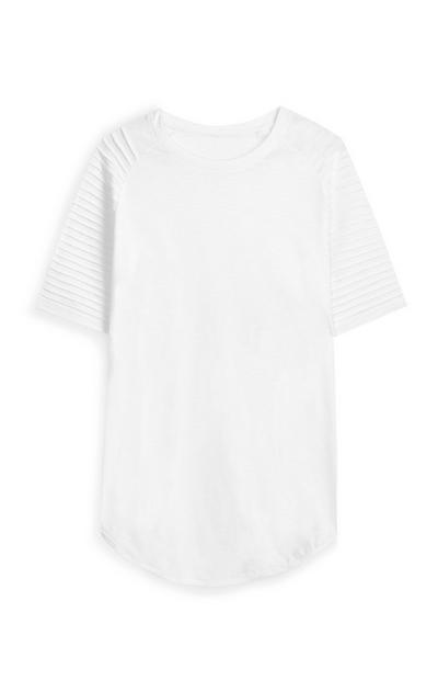White Stretch Longline Biker T-Shirt