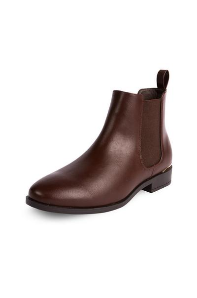 Brown Faux Leather Chelsea Boots
