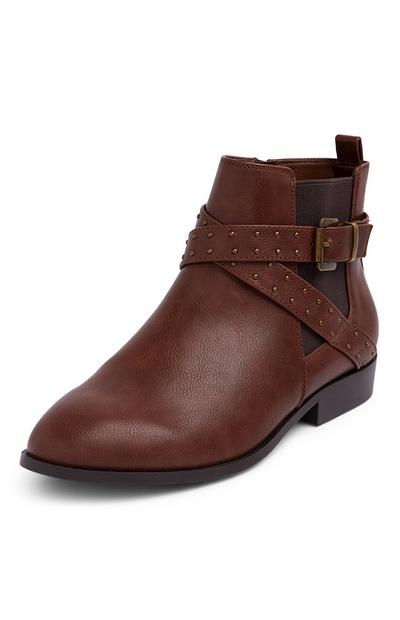 Dark Brown Strap Stud Chelsea Boots