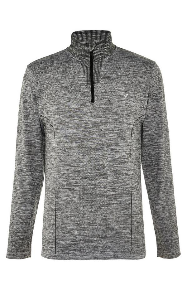 Grey Long Sleeve Zip Collar Top