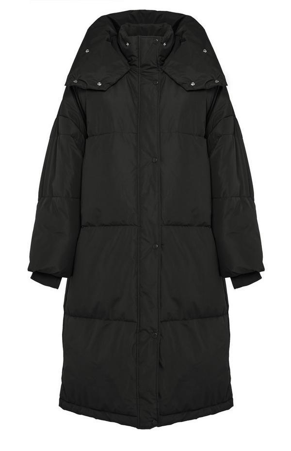 Black Longline Padded Duvet Coat