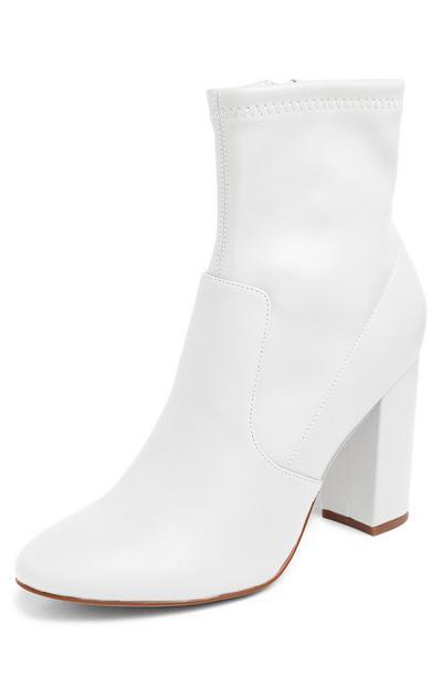 White Stretch Block Heel Boots