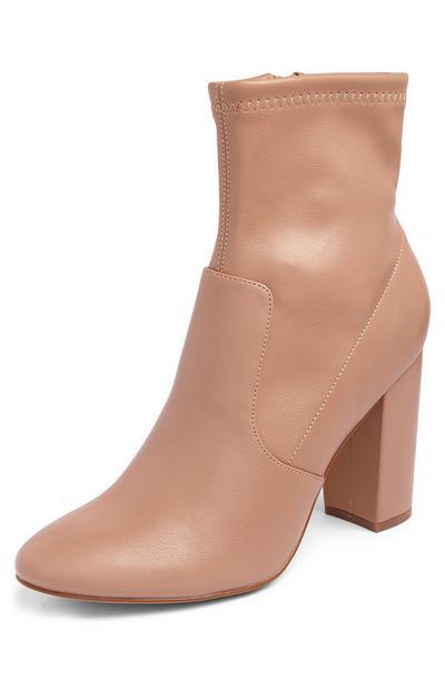 Beige Stretch Block Heel Boots