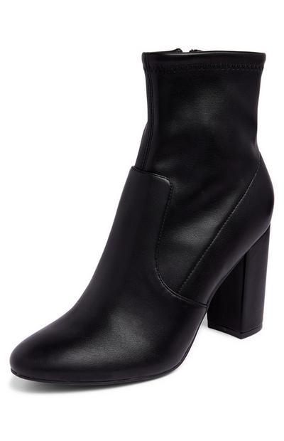 Black Stretch Block Heel Boots