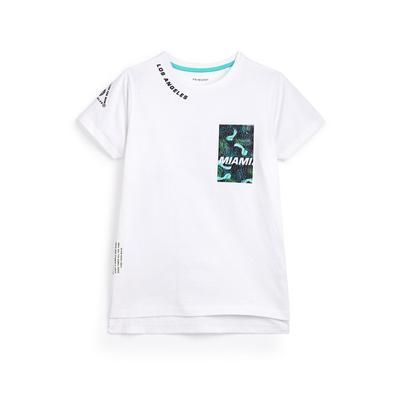 T-shirt blanc à imprimé Miami ado