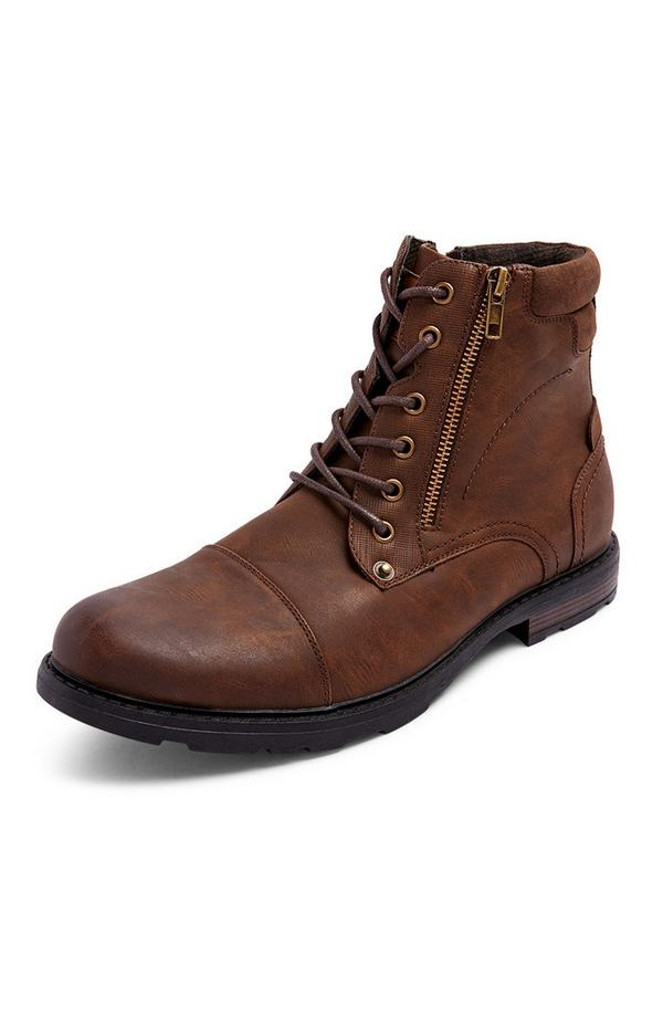 Brown Military Zip Boots