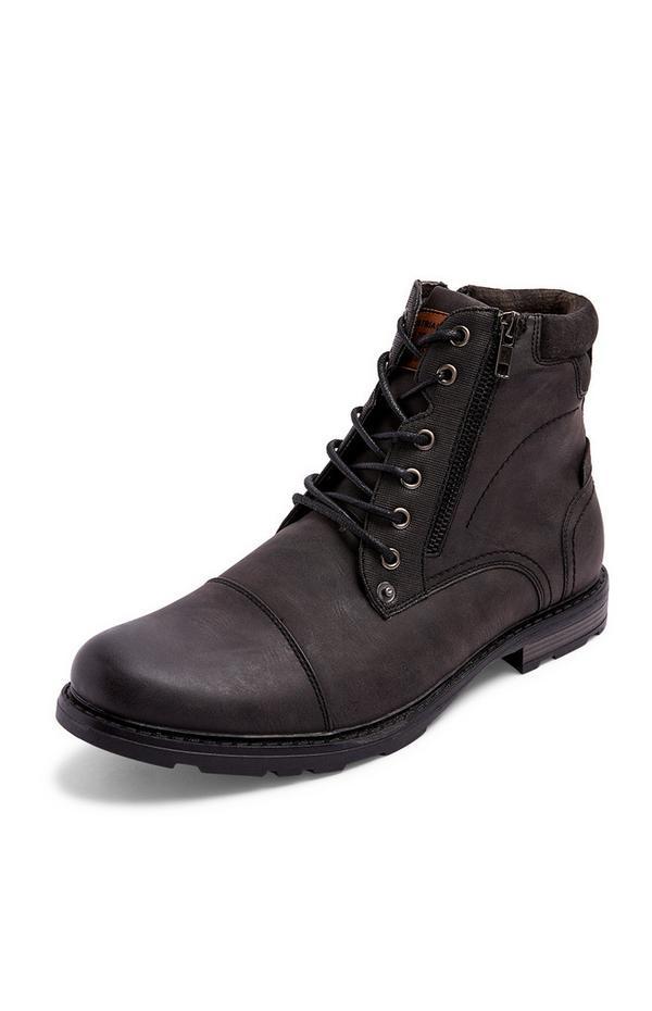 Botas militares marrón oscuro con cremallera