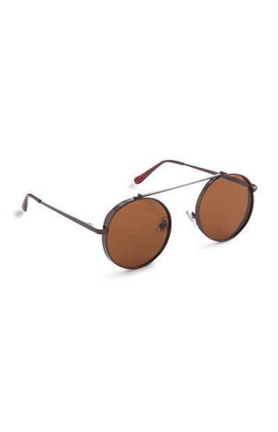 Brown Circular Eyebrow Bar Sunglasses