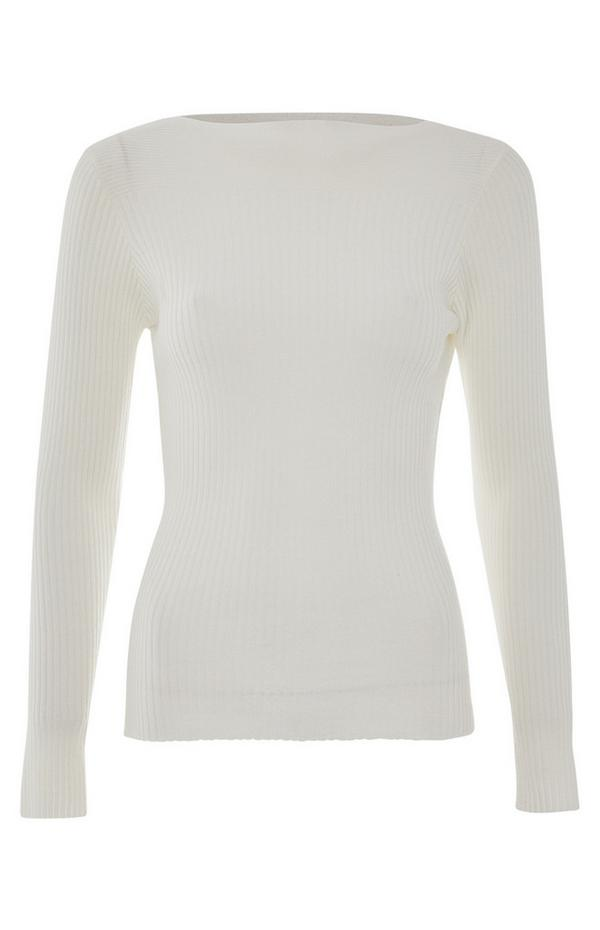 White Brushed Boatneck Top