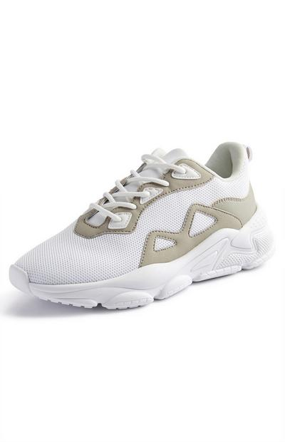 White/Olive Mesh Mix Chunky Sneakers