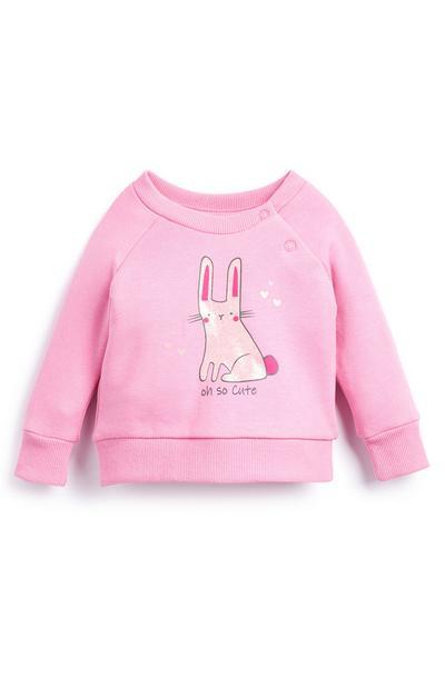 Roze babytrui met ronde hals en konijn voor meisjes