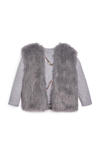 Ensemble gilet gris et t-shirt fille