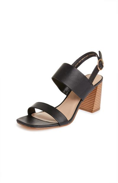 Black Stacked Flare Heel Sandals
