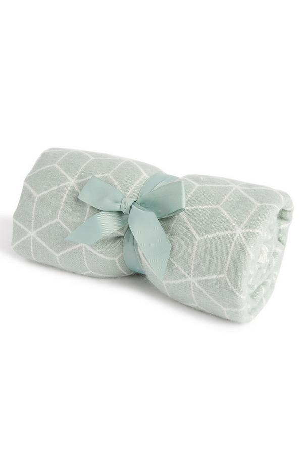 Lahka metino zelena brisača za roke z geometrijskim vzorcem