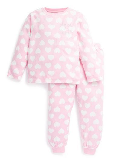 Rožnata pižama s srčki za mlajša dekleta