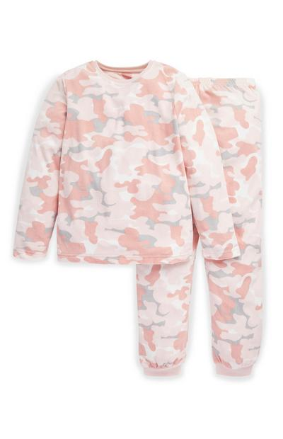 Older Girl Pink and White Camo Minky Pyjama Set